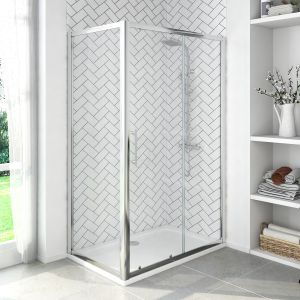Aquariss® 1000 x 900mm Sliding Door Shower Enclosure with Easy Clean Glass - With Shower Tray & Waste