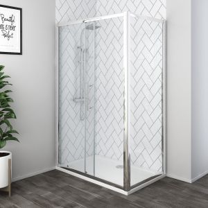 Aquariss® 1200 x 800mm Sliding Door Shower Enclosure with Easy Clean Glass - With Shower Tray & Waste