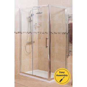 Aquariss 1200 x 900mm Sliding Door Shower Enclosure with Easy Clean Glass - With Shower Tray & Waste