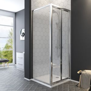Aquariss® 760 x 760mm Bi-Fold Shower Enclosure with Easy Clean Glass - With Shower Tray & Waste