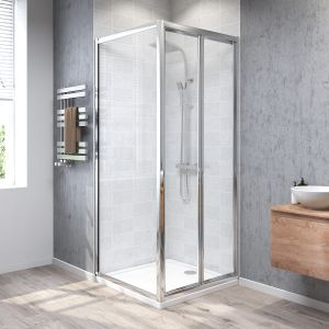 Aquariss® 800 x 800mm Bi-Fold Shower Enclosure with Easy Clean Glass - With Shower Tray & Waste