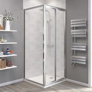 Aquariss® 900 x 900mm Bi-Fold Shower Enclosure with Easy Clean Glass - With Shower Tray & Waste