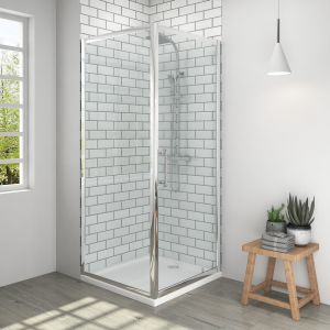Aquariss® 800 x 800mm Pivot Shower Enclosure with Easy Clean Glass - With Shower Tray & Waste