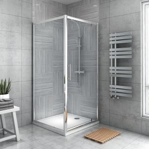 Aquariss® 900 x 900mm Pivot Shower Enclosure with Easy Clean Glass - With Shower Tray & Waste