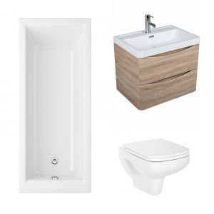 Aquila Bathroom Suite with Wall Hung Vanity Unit & Toilet