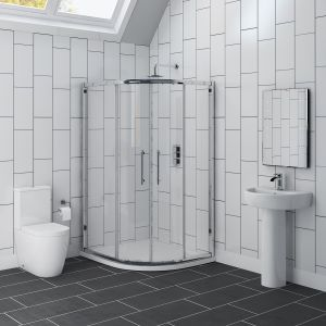 Cordoba 1200mm Offset Quadrant RH Shower Enclosure Suite with Easy Clean Glass