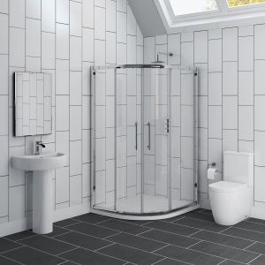 Cordoba 1200mm Offset Quadrant LH Shower Enclosure Suite with Easy Clean Glass