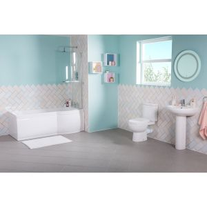 Lima Bathroom Suite with Right Hand 1500mm P Shape Shower Bath