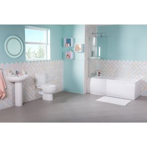 Lima Bathroom Suite with Left Hand P Shape Shower Bath