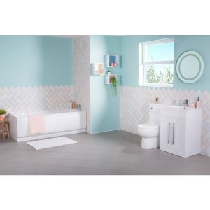 Lima Bathroom Suite with RH White Combi Vanity Unit