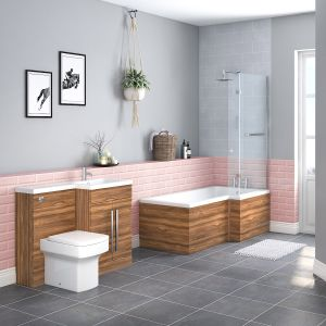 Boston Bathroom Suite with RH Walnut Vanity Unit & RH L Shape Shower Bath