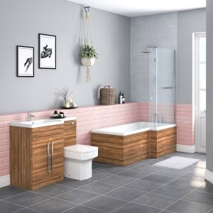 Boston Bathroom Suite with LH Walnut Vanity Unit & RH L Shape Shower Bath