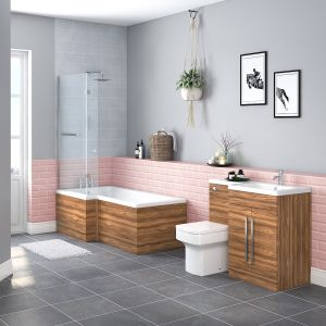 Boston Bathroom Suite with RH Walnut Vanity Unit & LH L Shape Shower Bath