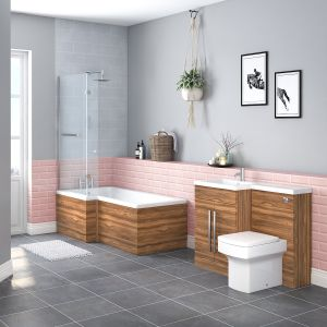 Boston Bathroom Suite with LH Walnut Vanity Unit & LH L Shape Shower Bath