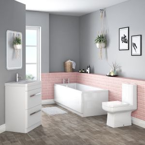 Boston Bathroom Suite with Freestanding Vanity Unit