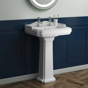 Abbey Traditional 595mm Basin with Full Pedestal