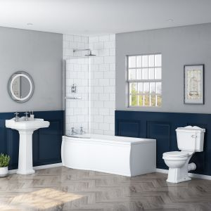 Abbey RH L Shape Shower Bath Bathroom Suite
