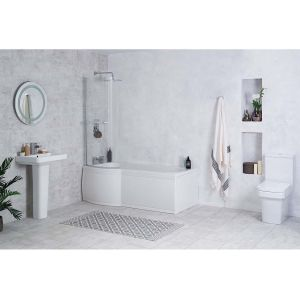 Avola Bathroom Suite with Left Hand P Shape Shower Bath
