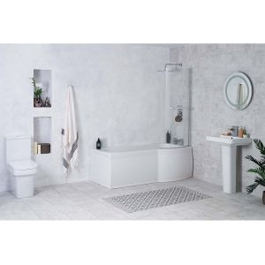 Avola Bathroom Suite with Right Hand P Shape Shower Bath