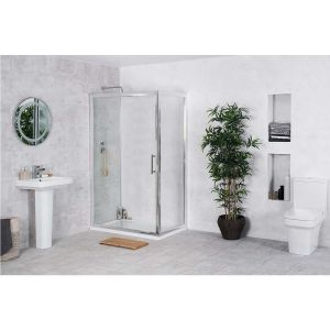 Avola 1200mm Sliding Door Shower Enclosure Suite with Easy Clean Glass