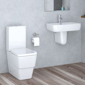 Aria Close Coupled Toilet & Semi Pedestal Basin Cloakroom Suite