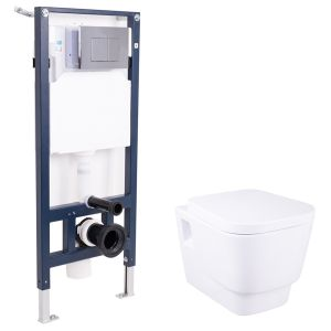 Aria Wall Hung Toilet with Soft Close Seat and Wall Mounting Frame