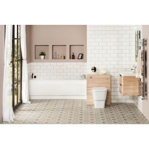 Aria Bathroom Suite with Wall Hung Oak Vanity Unit
