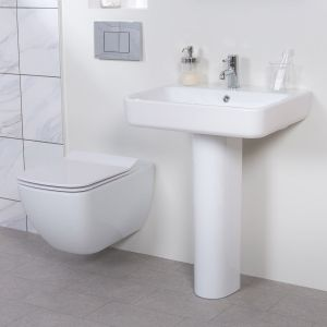 Edge Rimless Wall Hung Toilet & Basin Cloakroom Suite