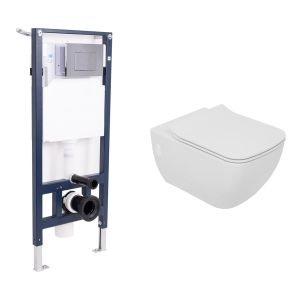 Edge Rimless Wall Hung Toilet with Soft Close Seat and Wall Mounting Frame