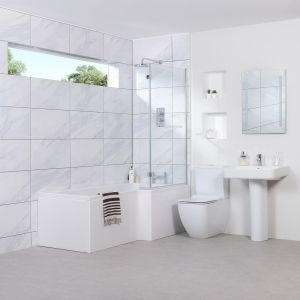 Edge Bathroom Suite with Right Hand L Shape Shower Bath