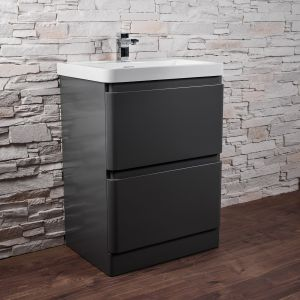 Gloss Grey Toilet & Sink Vanity Unit