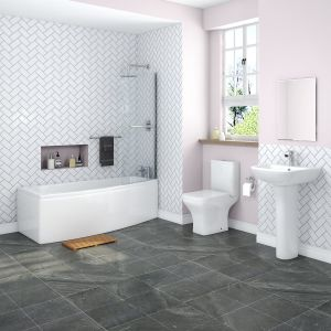 Feel Curved Bathroom Suite with Right Hand Space Saver Bath