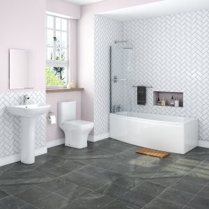 Feel Curved Bathroom Suite with Left Hand Space Saver Bath