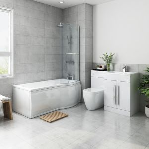 Energise Bathroom Suite 1500mm Right Hand P Shape Shower Bath with Screen & Right Hand Vanity Unit Set with Toilet (Bathroom Suite)