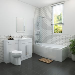 Bathroom Suite Left Hand Shower Bath Right Hand Basin Vanity Toilet Furniture