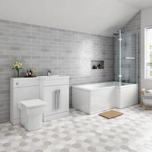 Live Bathroom Suite 1700mm Right Hand L Shape Shower Bath with Screen & Right Hand Basin Vanity Unit Set with Toilet (Bathroom Suite)