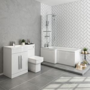 Live Bathroom Suite 1500mm Left Hand L Shape Shower Bath with Screen & Left Hand Basin Vanity Unit Set with Toilet
