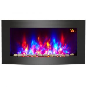 Warmehaus Genova - LED Electric Curved Wall Firecplaces 7 Flames Colours - 2000W