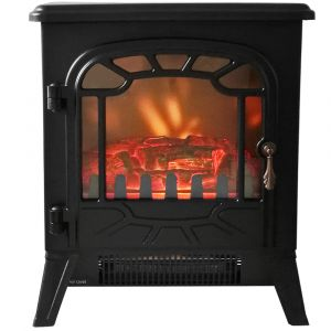 Warmehaus Marseille - Electric Fireplace Black Stove Free Standing Flame Effect - 1800W