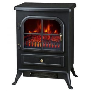 Warmehaus Paris - Electric Fireplace Black Stove Free Standing Flame Effect - 1850W