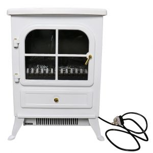 Warmehaus Paris - Electric Fireplace White Stove Free Standing Flame Effect - 1850W