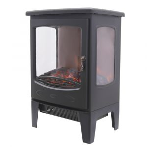 Warmehaus Turin - Electric Fireplace Black Stove Free Standing Flame Effect - 1800W