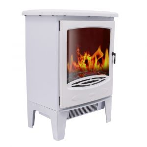 Warmehaus Nantes - Electric Fireplace White Stove Free Standing Flame Effect - 1800W