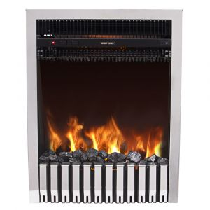 Warmehaus Lyon - LED Electric Fireplace Insert or Free Standing Silver Frame - 2000W