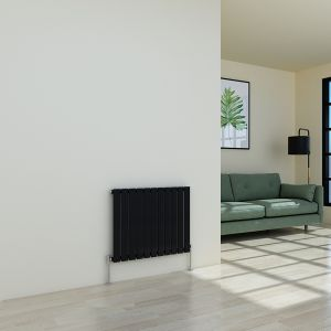 Karlstad 600 x 750mm Black Single Flat Panel Horizontal Radiator