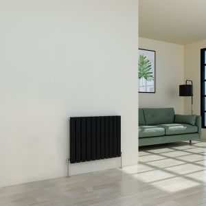 Karlstad 600 x 750mm Black Double Flat Panel Horizontal Radiator