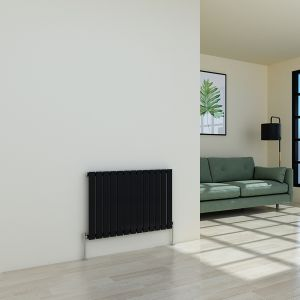 Karlstad 600 x 886mm Black Single Flat Panel Horizontal Radiator