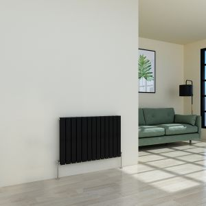 Karlstad 600 x 886mm Black Double Flat Panel Horizontal Radiator