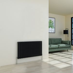 Karlstad 600 x 1022mm Black Single Flat Panel Horizontal Radiator