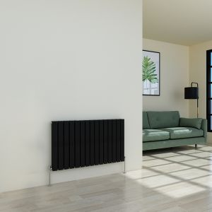 Karlstad 600 x 1022mm Black Double Flat Panel Horizontal Radiator
